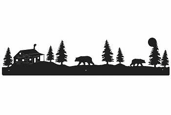 Bear and Cabin Rustic Scenery Wall Art - 3 sizes