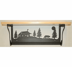 Bear and Cabin Rustic Towel Bar with Shelf