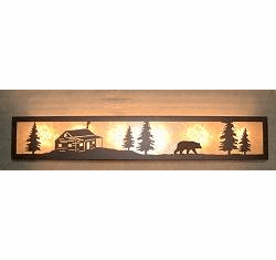 Bear and Cabin Valance Style Bath Vanity Light