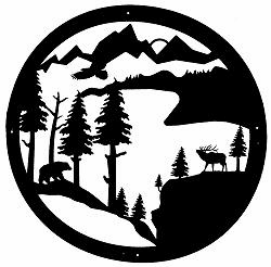 Bear and Elk Circle Wall Art in 36 Inch