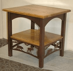 Bear and Moose Rustic End Table