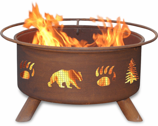 Bear and Trees Design Fire Pit - Rustic Fire Pit