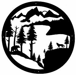 Bear and Wolf Circle Wall Art in 36 Inch