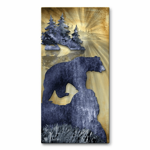 Bear by the Lake Metal Wall Hanging