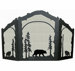 Bear Design Fireplace Screen - Arched Top