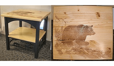 Bear Etched Top Wildlife Scenery End Table