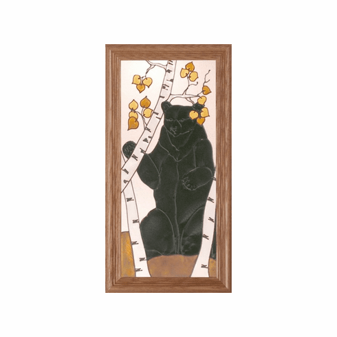 Bear in Birch Tree Stained Glass Art Glass