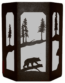 Bear on a Log Open Sides Sconce Wall Light