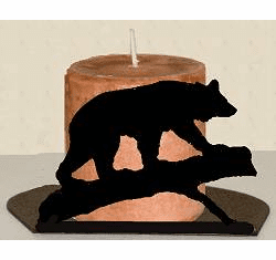 Bear on a Log Silhouette Candle Holder