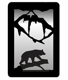Bear on a Log Small Accent Mirror Wall Art