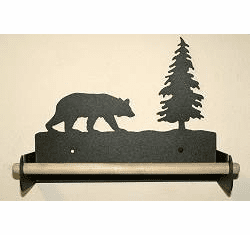 Bear Paper Towel Holder with Wood Bar