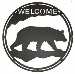 Bear Round Welcome Sign
