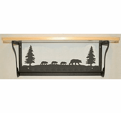 Bear Rustic Towel Bar with Shelf