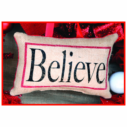 Believe Merry Christmas Pillow, 8in x 6in