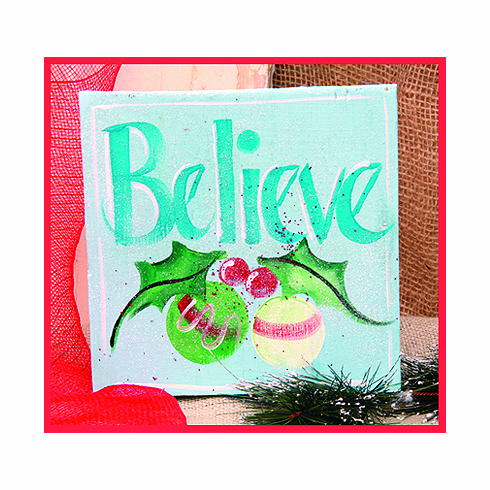 Believe Sky Blue Merry Christmas Sign, 8in x 8in