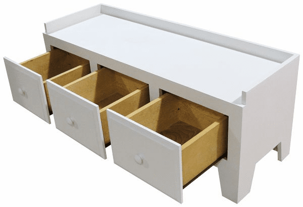 Bench with Three Drawers, 50 inch wide