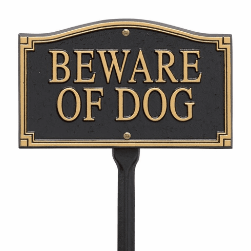 """Beware Of Dog"" Statement Marker -Wall/Lawn - Black/Gold"