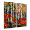 Birch Trees Red Metal Wall Art