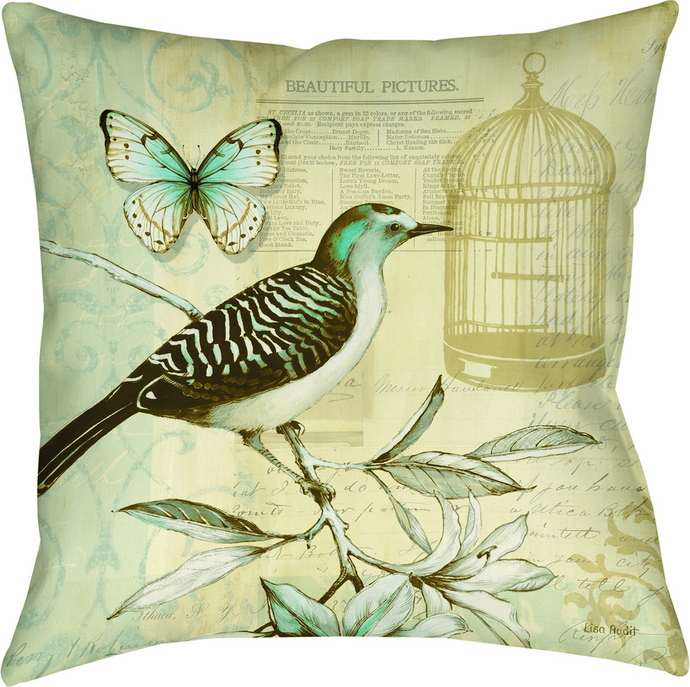 Birds and Butterfly I Climaweave Pillow