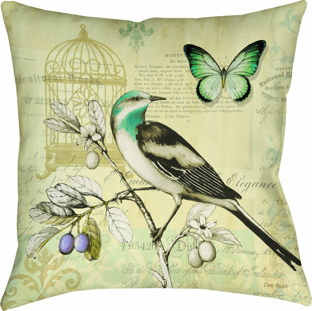Birds and Butterfly II Climaweave Pillow