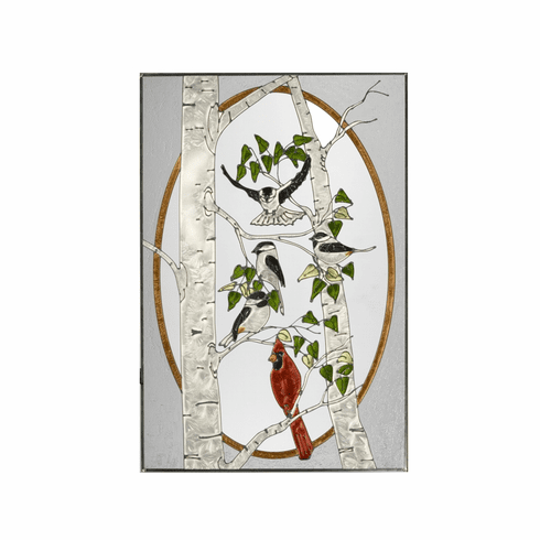 Birds in Birch Tree Stained Glass Art Glass