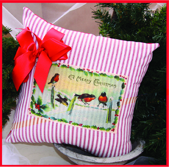 Birds in the Snow Merry Christmas Ribboned Pillow, 14in x 14in