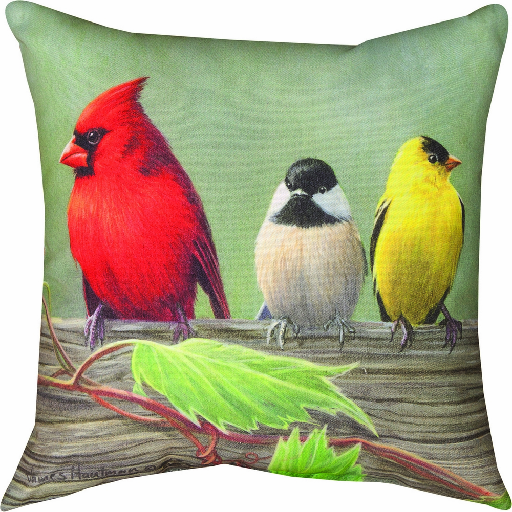 Birds on a Line Cardinal Climaweave Pillow