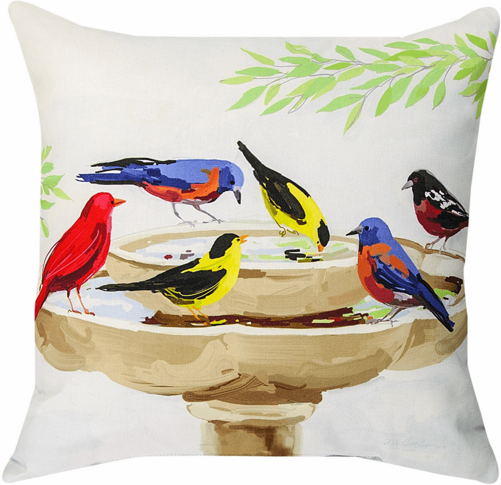 Birds Playing in Water Pillow