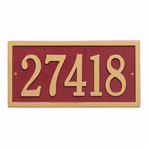Bismark Standard Wall One Line Plaque in Red and Gold