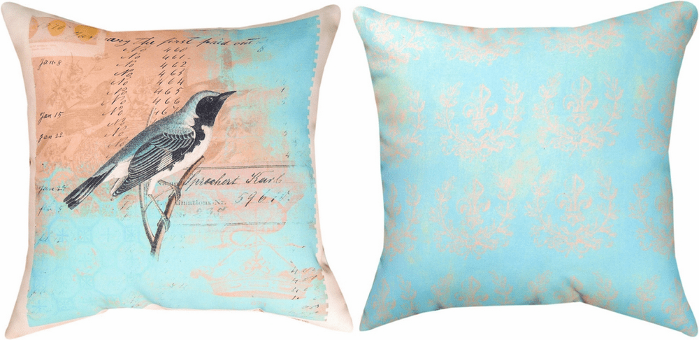 Blue Bird in Aviary Climaweave Reversible Pillow