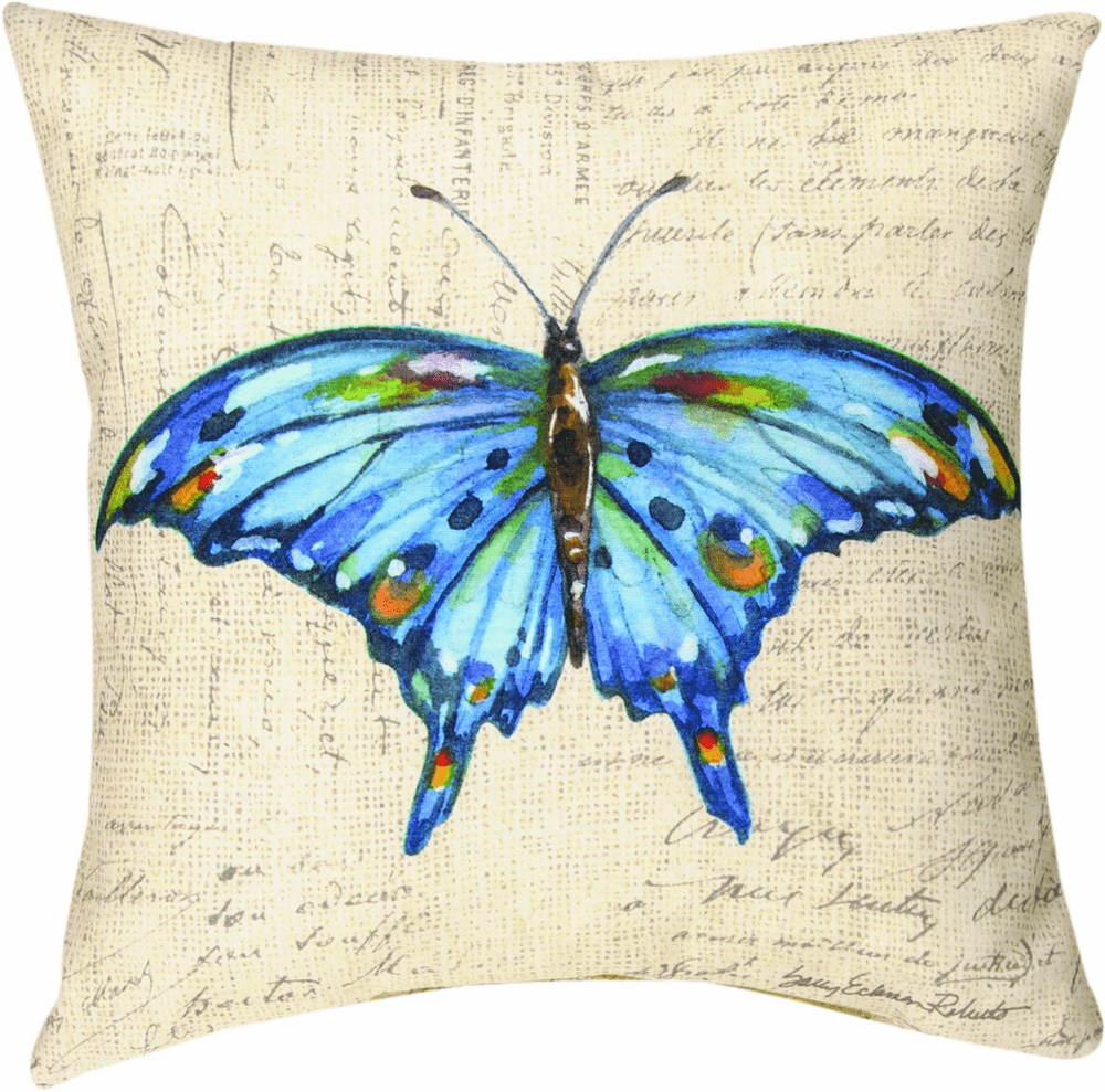 Blue Butterfly Wings Climaweave Pillow