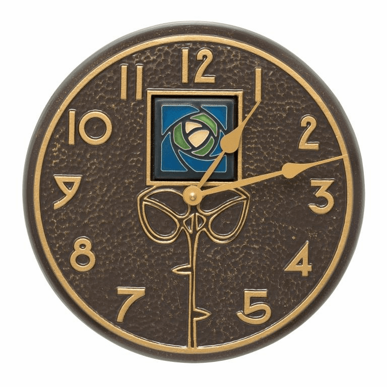 Blue Dard Hunter Rose 12 inches Indoor Outdoor Wall Clock - French Bronze
