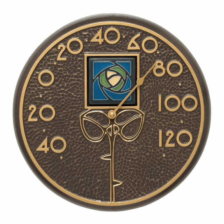 Blue Dard Hunter Rose 12 inches Indoor Outdoor Wall Thermometer - French Bronze