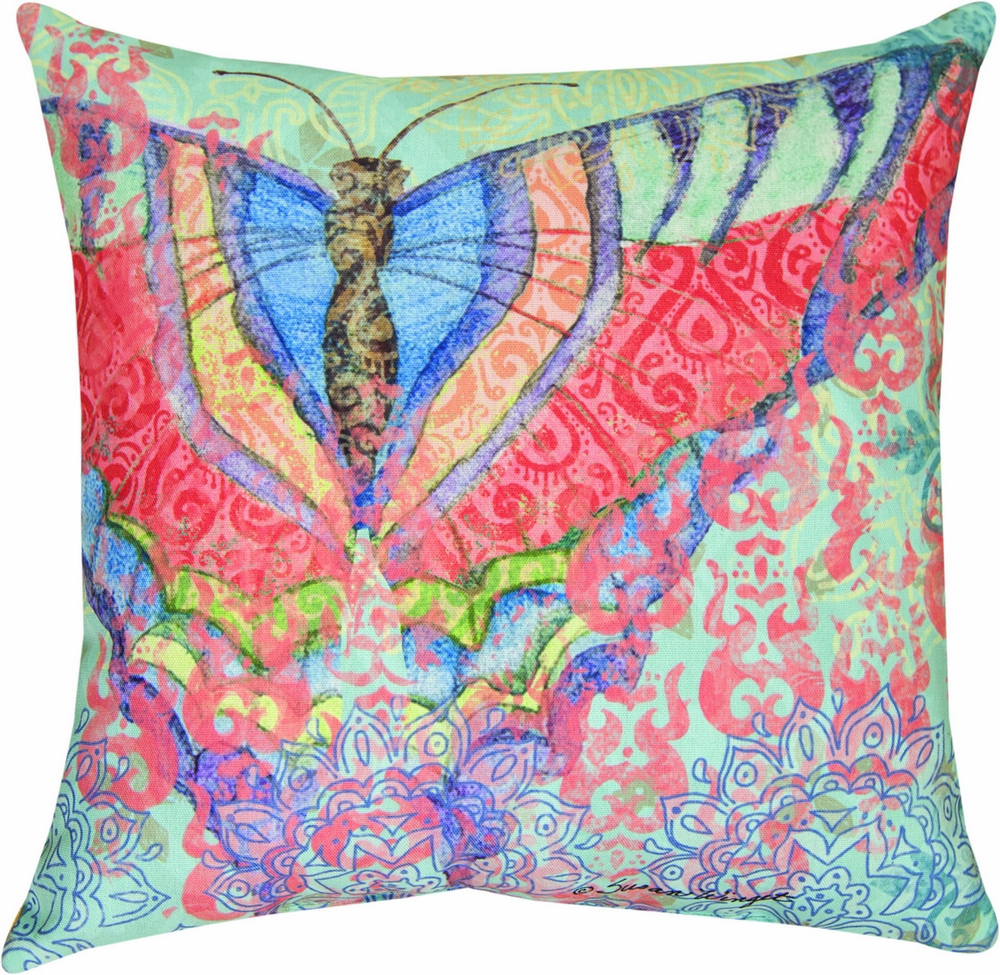 Boho Nature Moth Butterfly Indoor/Outdoor Pillow