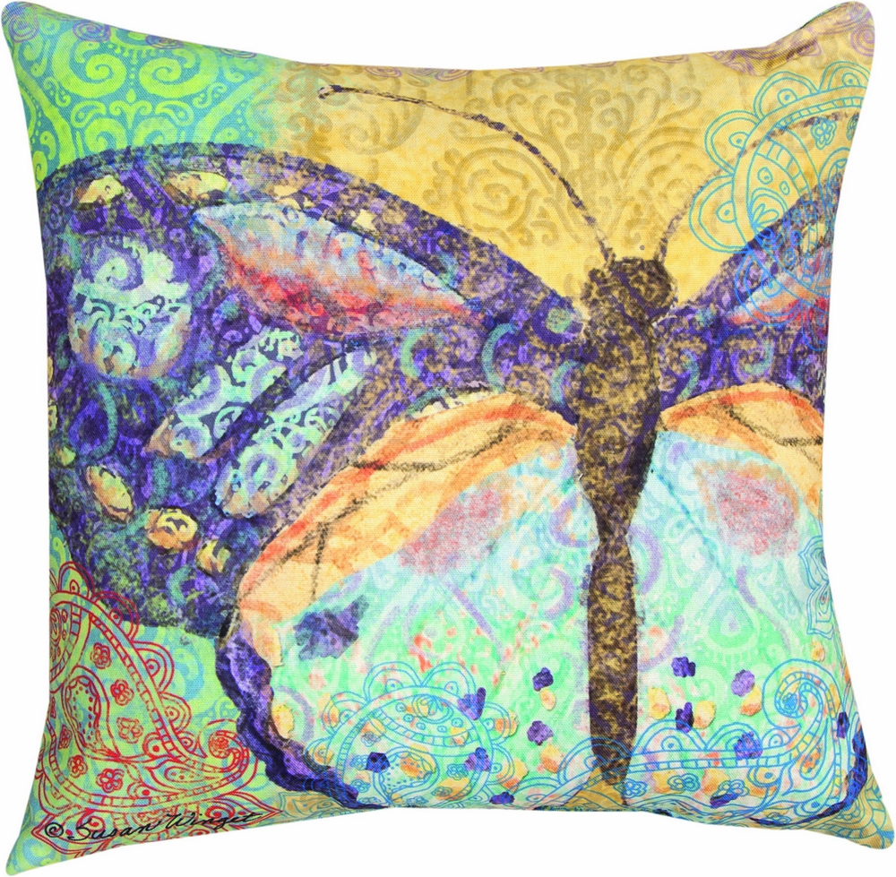Boho Nature Yellow Butterfly Indoor/Outdoor Pillow