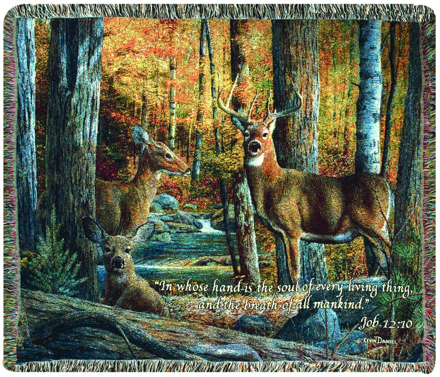 Broken Silence II Stag Tapestry Throw with Verse