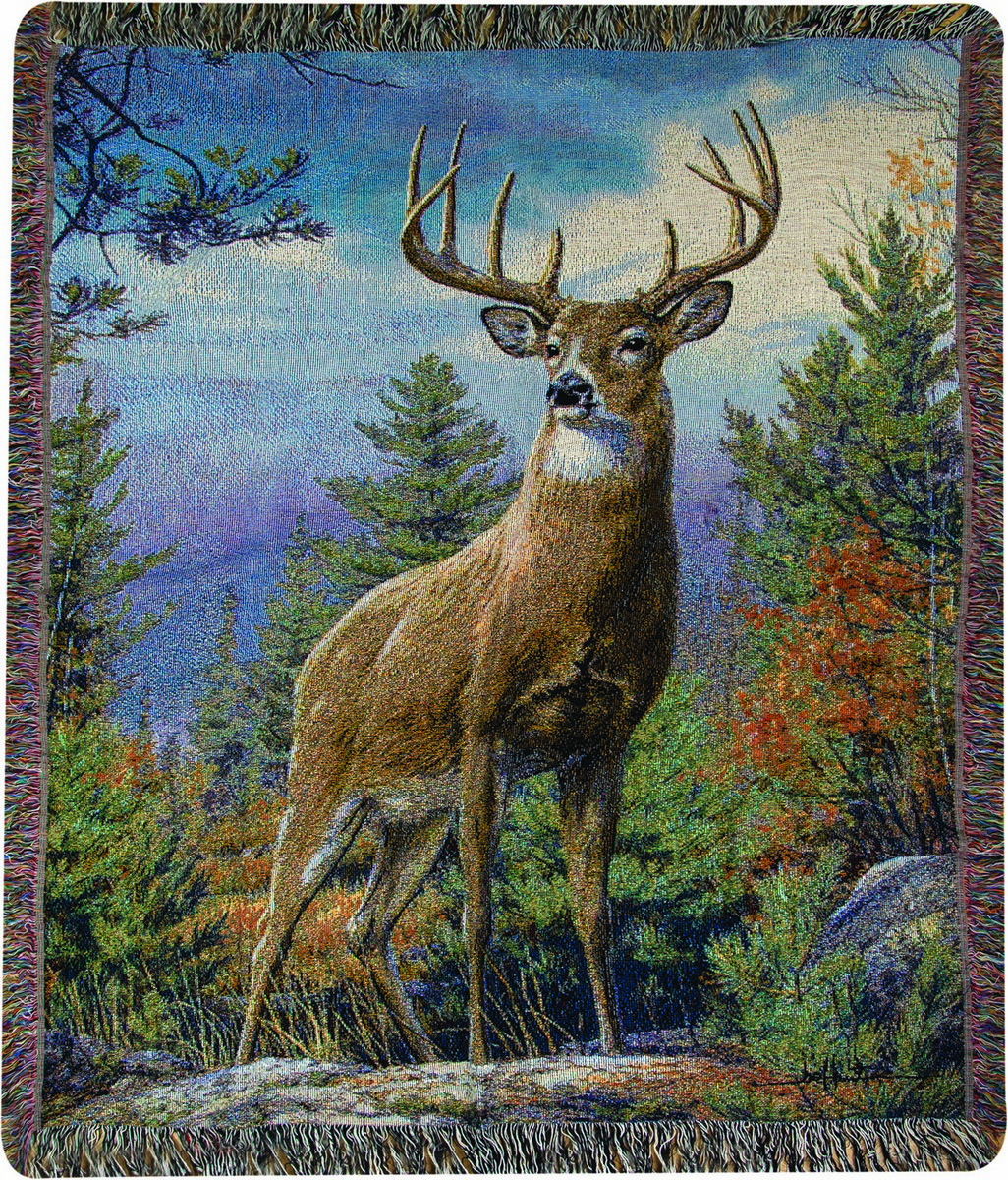 Buck Standing Proud Tapestry Throw