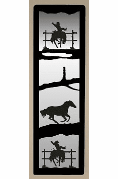 Bucking Bronco Large Accent Mirror Wall Art