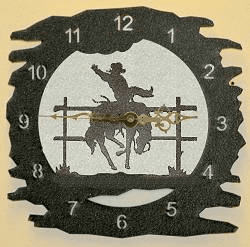 Bucking Bronco Rough Edge Wall Clock