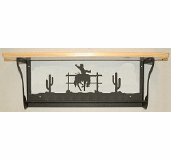 Bucking Bronco Rustic Towel Bar with Shelf