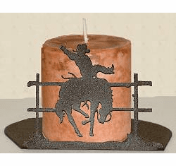Bucking Bronco Silhouette Candle Holder