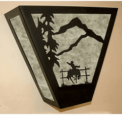 Bucking Bronco Triangular Sconce Light