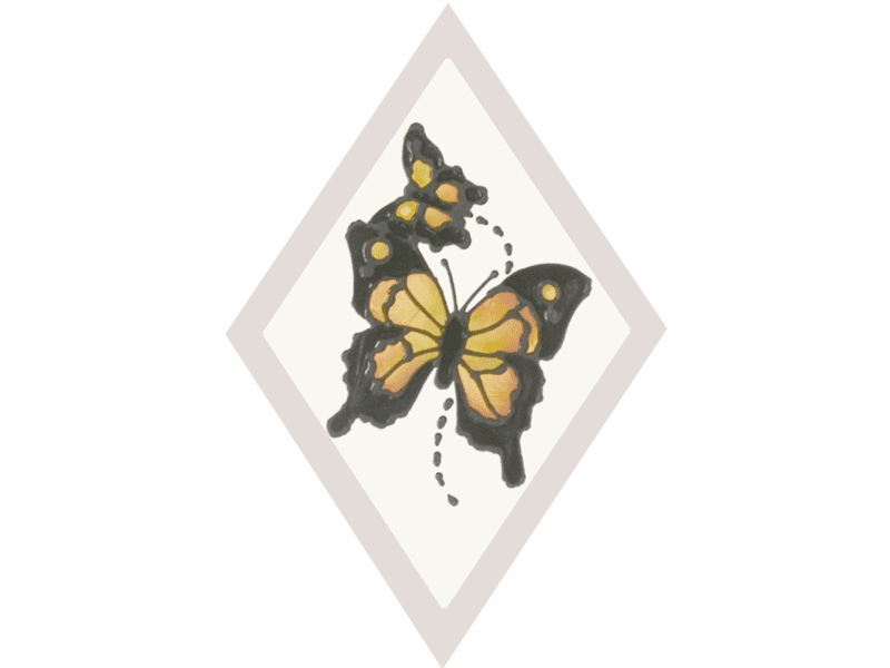 Butterflies in Diamond I Stained Glass Art Glass