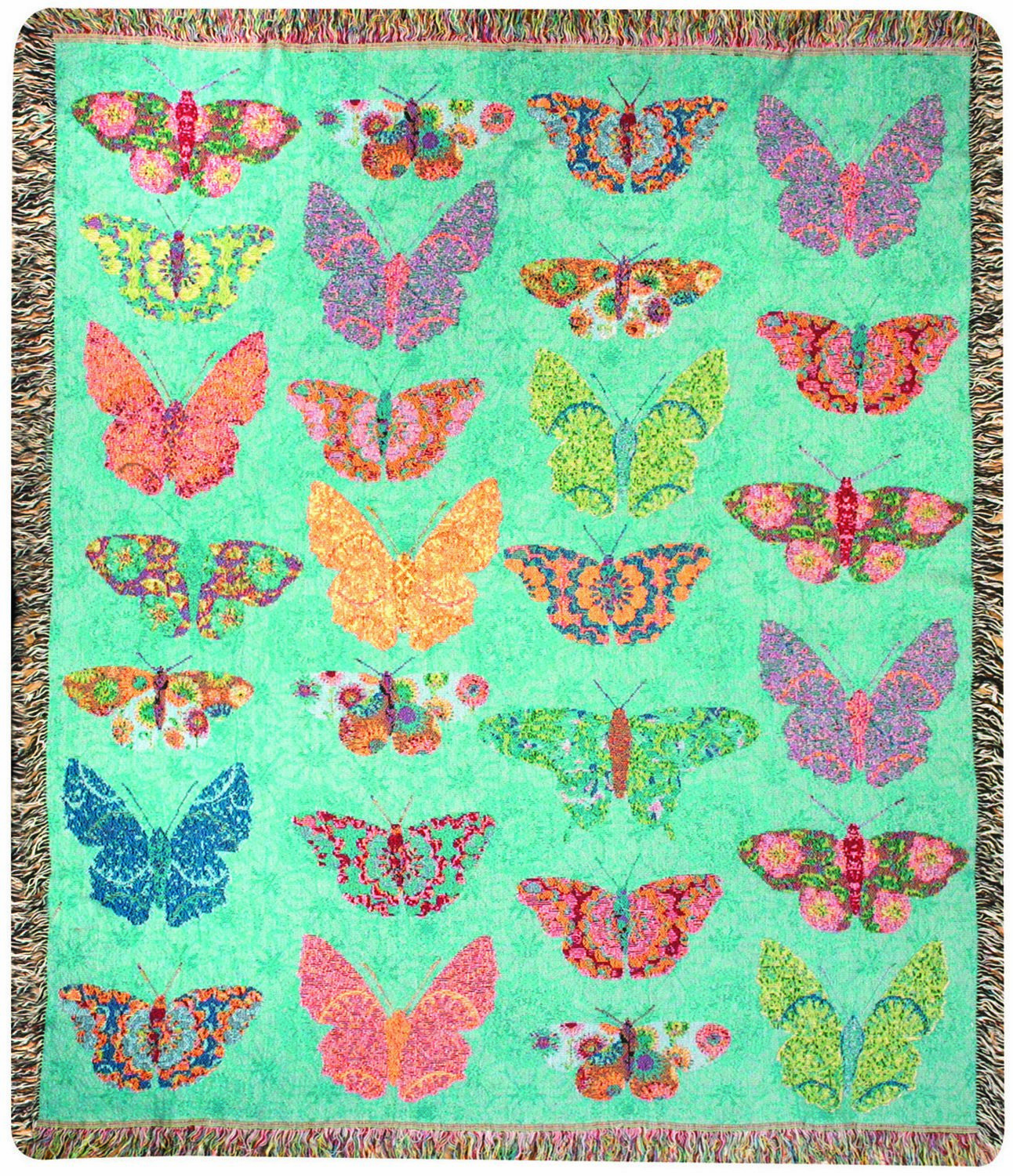 Butterfly Kaleidoscope Tapestry Throw