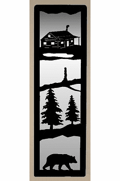 Cabin and Bear Large Accent Mirror Wall Art