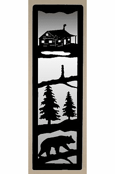 Cabin and Bear on a Log Large Accent Mirror Wall Art