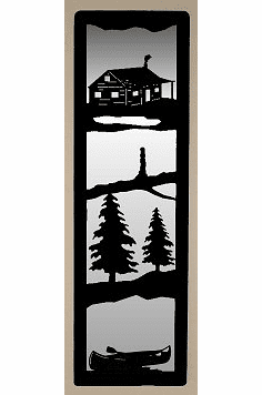 Cabin and Canoe Large Accent Mirror Wall Art
