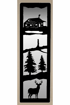 Cabin and Deer Large Accent Mirror Wall Art