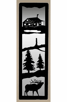 Cabin and Elk Large Accent Mirror Wall Art