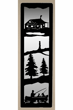 Cabin and Fisherman Large Accent Mirror Wall Art